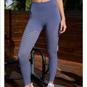ROYAL BLUE HIGH WAISTED LASER-CUT SEAMLESS LEGGING
